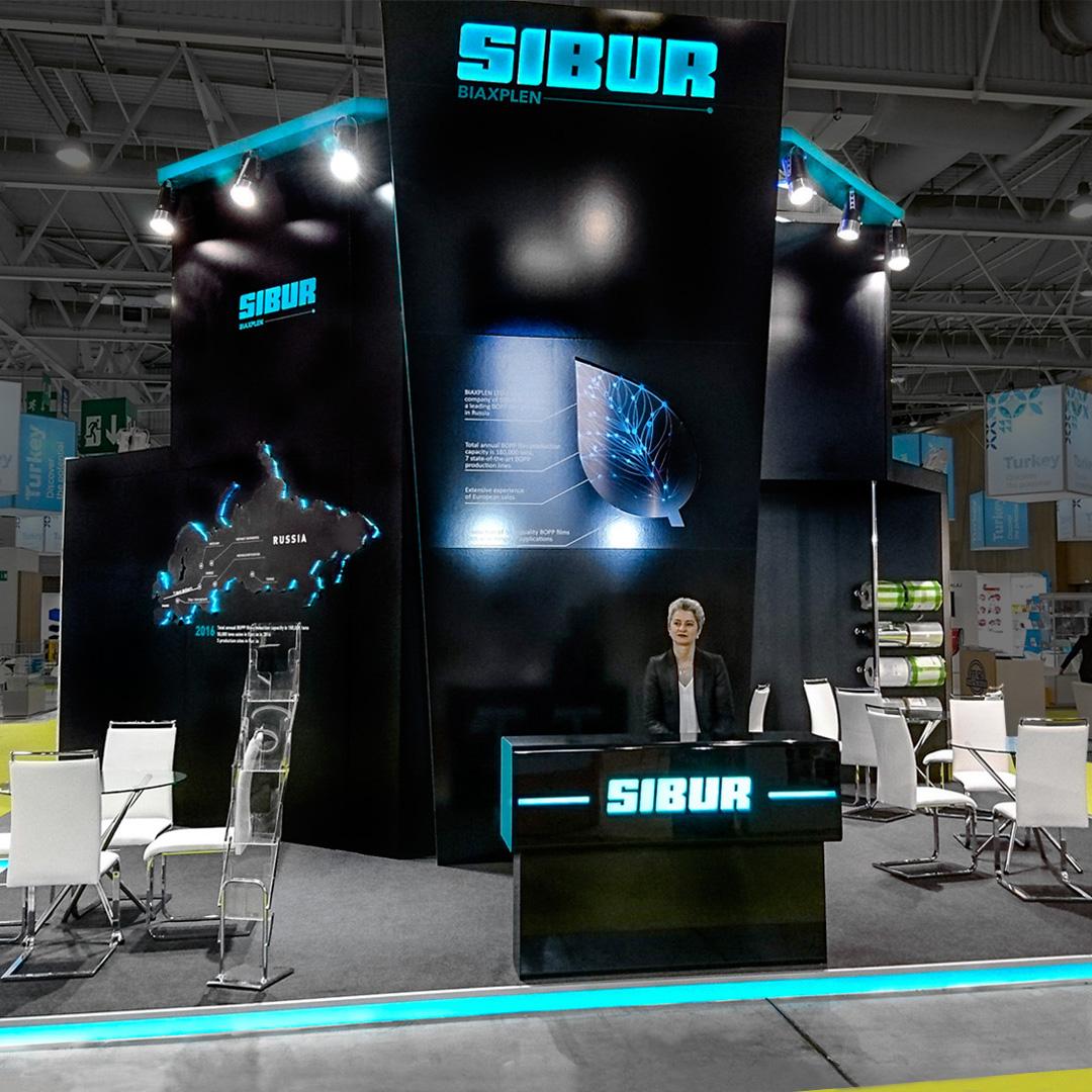 блискучий стенд з підсвіткою SIBUR