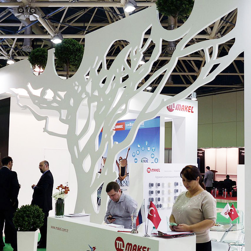 exhibition tailored booth with wooden tree at Moscow trade fair