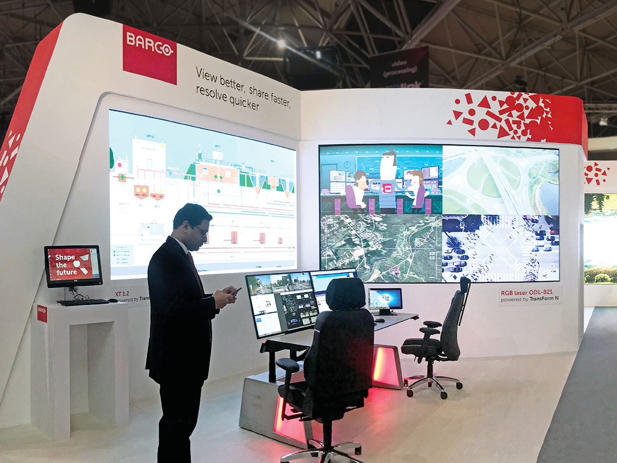exhibition custom booth for Barco at the Integrated Systems Europe