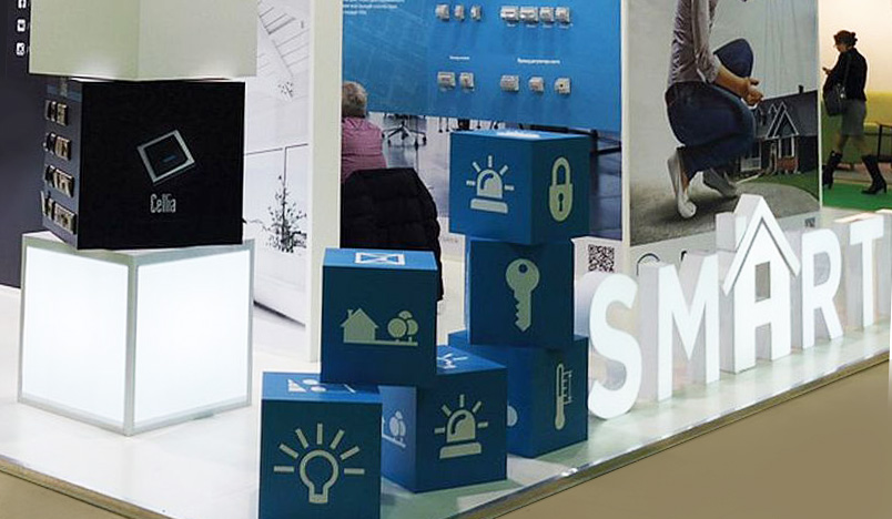 custom stand with light boxes at the exhibiton in Moscow